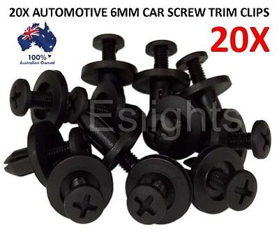 20X Car Plastic 6Mm  Scrivet Screw Clips Fit Door Boot Trim Panels Bumper