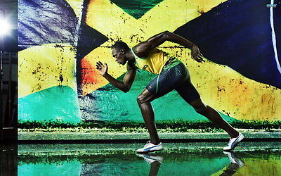 "004 Usain Bolt - 100 m Running Olympic Game Champion 38""x24"" Poster"