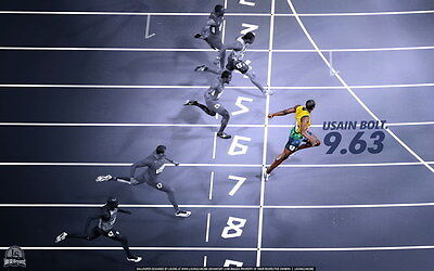 "006 Usain Bolt - 100 m Running Olympic Game Champion 38""x24"" Poster"