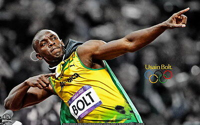 "007 Usain Bolt - 100 m Running Olympic Game Champion 38""x24"" Poster"