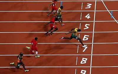 "012 Usain Bolt - 100 m Running Olympic Game Champion 38""x24"" Poster"