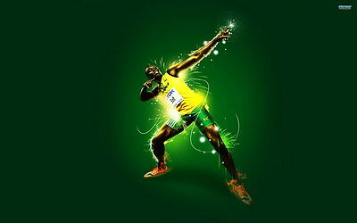 "005 Usain Bolt - 100 m Running Olympic Game Champion 38""x24"" Poster"