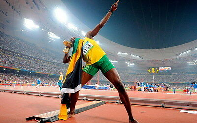 "003 Usain Bolt - 100 m Running Olympic Game Champion 38""x24"" Poster"