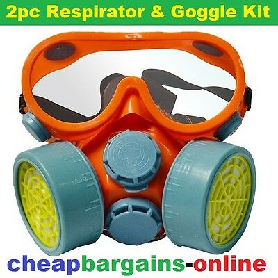 2pc RESPIRATOR & GOGGLES KIT MASK FOR PAINT DUST POLLEN ASBESTOS GAS WELDING ETC