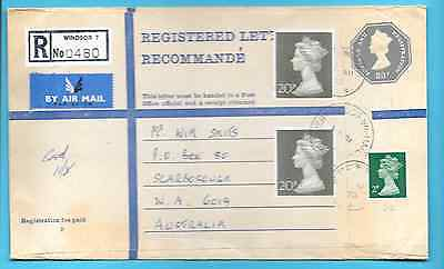 Great Britain registered cover with MACHIN  stamps - to Australia - f