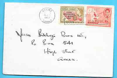 2 1/2 d rate to ACCRA GHANA / GOLD COAST cover 1957 - early mixed issues