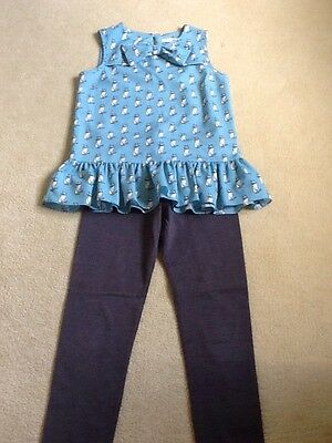 Lovely 2 Piece Outfit, Cat Top And Leggings From m And s, Age 8-9
