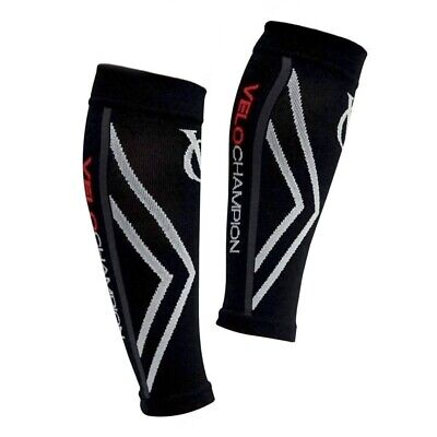 VeloChampion Compression Calf Guards/Sleeves Black - Large - For Running,