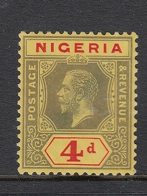 NIGERIA GV 1914 SG6 4d black & red on yellow - lightly mounted mint