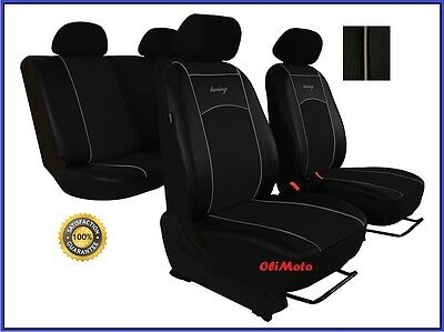 Universal Black Eco-Leather Full Set Car Seat Covers fit Nissan Note