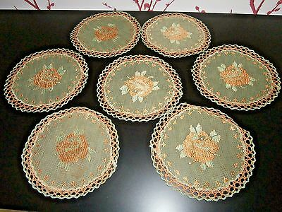 "SEVEN VINTAGE EMBROIDERED NET LACE TABLE COASTER MATS ~5"" dia~ ROSE DESIGN"