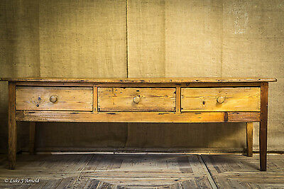 Large Georgian Waxed Pine Country House Prep Table / Sideboard / Bench