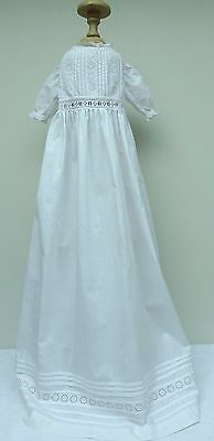 Broderie Anglaise Lace Christening Gown Cotton Dress Babies Doll Vintage Antique