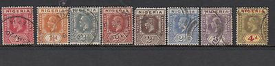 NIGERIA 1921 - 32 KGV - 1d to 4d - 8 values - used