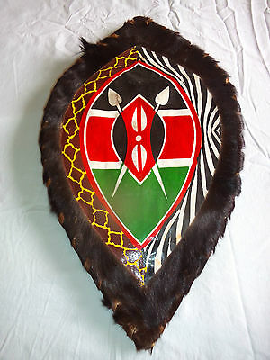 Authentic Kenya African Maasai War Shield Leather Pigment Wood Ethnographic