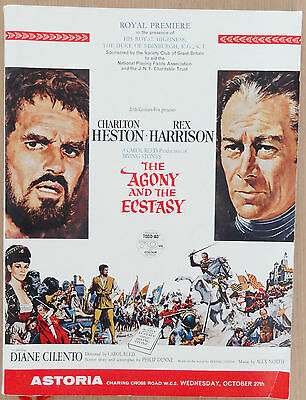 Charlton Heston Agony And The Ecstasy Signed Autograph Premiere Programme  1965