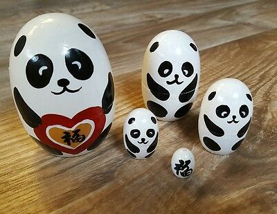 Giant Panda Bear Russian Dolls wood wooden kitsch collectable