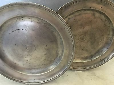 Two 28cm French Pewter Plates Marked L.C.L.C