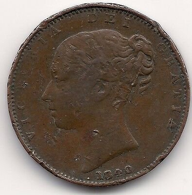 British 1840 Farthing Coin Victorian,Queen Victoria Young Head