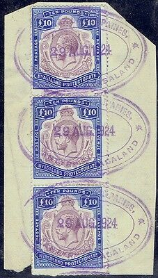 Nyasaland 1913 KGV 10P purple & royal blue strip of 3, nick in scroll variety