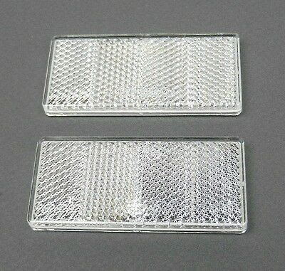 CLEAR WHITE REFLECTORS SELF ADHESIVE RECTANGULAR 70 x 30 mm E-APPROVED PAIR SET