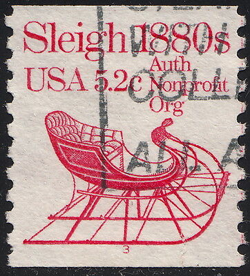 1900 5.2c Sleigh #3 used pnc single off paper with tear at bottom
