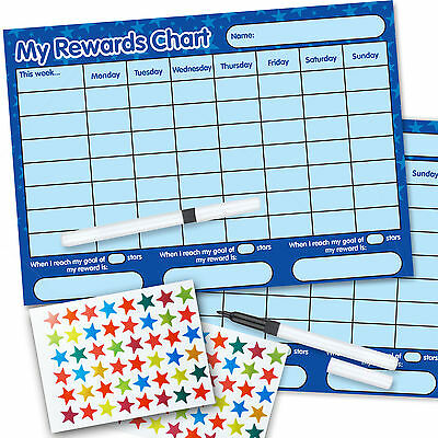 2 Re-usable Reward Chart (including FREE Stickers and Pen) BLUE twin pack