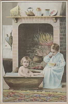 Victorian Trade Card-White Sewing Machine-Cleveland, OH-Children at Hearth
