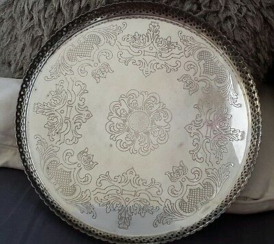 Silver Plated Drinks Tray Pierced Work Gallery Chased Tray