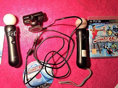 2 X Official Sony Ps3 Black Playstation 3 Move Motion Controllers & Eye Camera