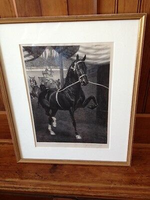 """George Ford Morris- Lithograph, Signed by hand, 13"""" by 9"""", framed and matted"""