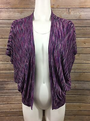 Liz Lange Maternity Open Cardigan Sweater SZ L Draped Purple