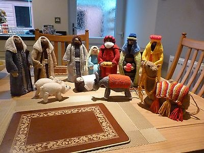 Hand Knitted Nativity Set with Camel and Donkey
