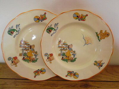 "PAIR OF VINTAGE 1950s ""TIM TROUBLE MOUSE"" WASHINGTON POTTERY NURSERY WARE PLATES"