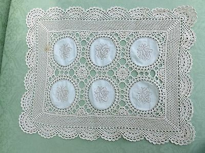 Antique/vintage Table Mat/tray Cloth Cream Cotton Crochet Embroidered Roundels
