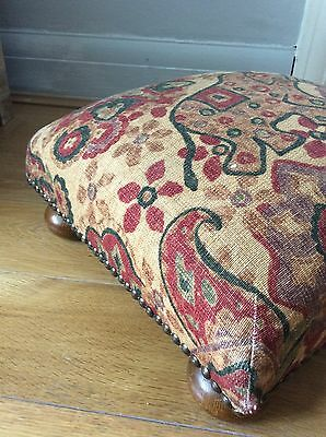 Footstool Wood Legs Studs Terracota Gold Fabric