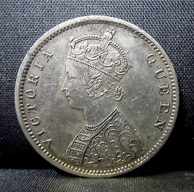 1862 India 1/2 Rupee ✪ Au Almost Uncirculated ✪ Km-472 1/2R L@@k Silver◢Trusted◣