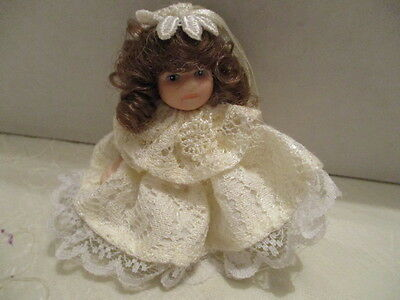 "Small Miniature 3"" H Porcelain Doll With Movable Arms/Leg In White Lace Dress"