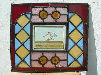 RARE GENUINE c1920 SPORTS LONG JUMP ATHLETE TROPHY STAINED GLASS LEADED LIGHT
