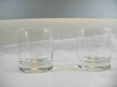 Set of two Kahlua's glasses with White Russian receipe on glass New
