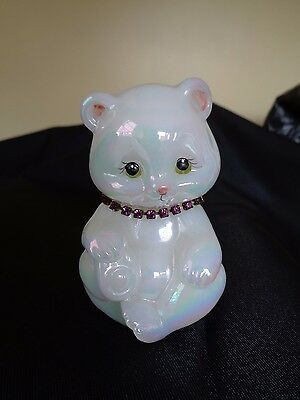 Fenton Opalescent Glass Bear with Amethyst Rhinestone Necklace Signed T.Gaskins