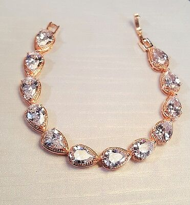 Brilliant Bridal Rose Gold Plated CZ Water Drop Bracelet