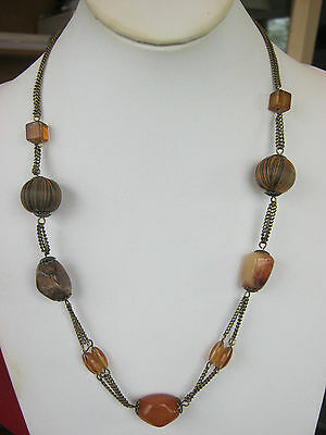 Vintage goldtone amber stone & beaded necklace, multi chain,amber bead links