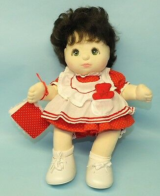 Rare Mattel My Child 6R2 Doll Brunette Green Eyes Red Pinafore Oufit Book & Bear