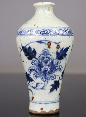 Antique Chinese Vase Glaze Blue White Meiping - Ming 16th 17th C.