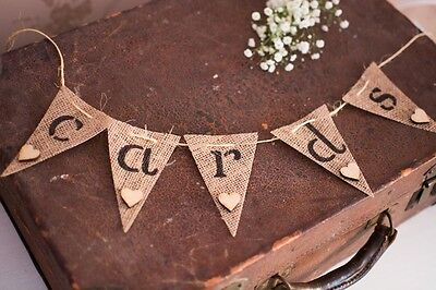 Cute Hessian Burlap Rustic Vintage Wedding/Party Cards Mini Bunting sign Banner