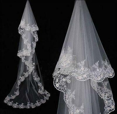 1T White Ivory Cathedral Length Wedding Bridal Veil No Comb Lace Edge Hot T4786