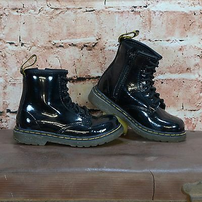 Dr Martens Brooklee Infant Patent Black Boots UK 7 EU 24