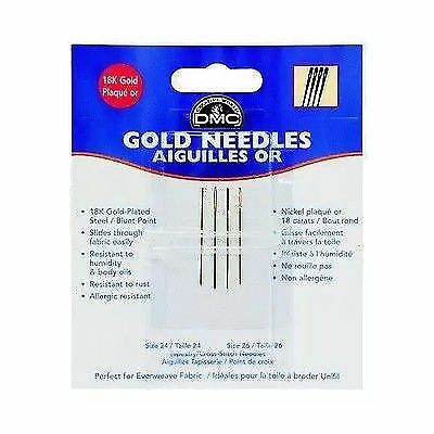 Size 24-26 Dmc 18K Gold Needles Pack Of 4