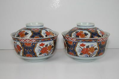 Japanese Imari Otagiri Tea Bowl dish Soup Lid Red Japan Rice Blue Gold